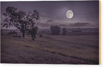 Wood Print featuring the photograph Shine On Harvest Moon by Jaki Miller