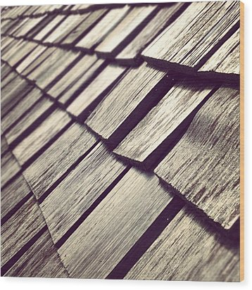 Shingles Wood Print by Christy Beckwith