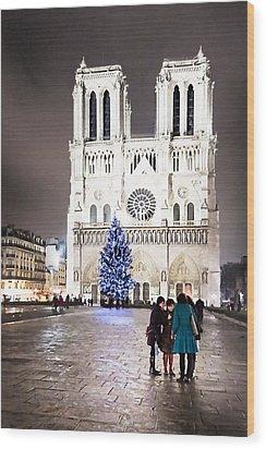 Shining Star - Notre Dame De Paris At Night Wood Print by Mark E Tisdale