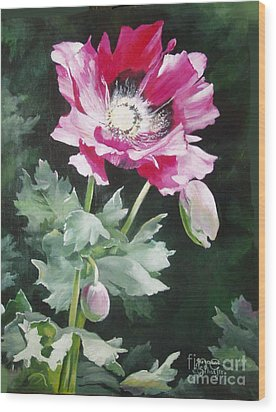 Shining Star Poppy Wood Print by Suzanne Schaefer
