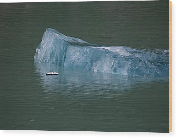 Ship And Iceberg Wood Print by June Jacobsen