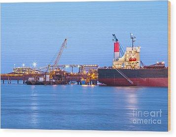 Ship And Port At Twilight Wood Print by Colin and Linda McKie