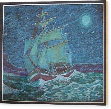 Ship At Sea Wood Print by Joseph Hawkins