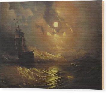 Ship At Sea Wood Print