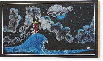 Ship Big Wave Wood Print by Joseph Hawkins