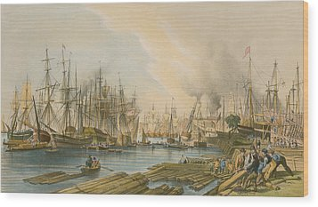 Ship Building At Limehouse Wood Print by William Parrot