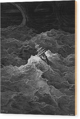 Ship In Stormy Sea Wood Print by Gustave Dore