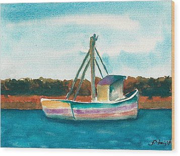 Ship In The Marsh Wood Print