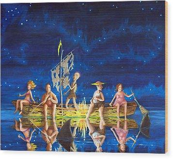 Wood Print featuring the painting Ship Of Fools by Matt Konar