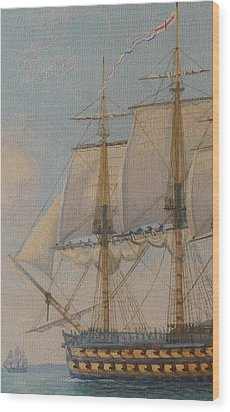 Ship-of-the-line Wood Print by Elaine Jones