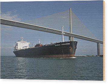 Ship Under Sunshine Skyway Bridge Wood Print