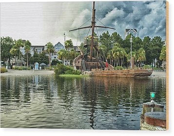 Ship Wrecked At The Disney Yacht And Beach Club Resort Wood Print by Thomas Woolworth
