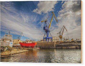 Ship Yard Wood Print