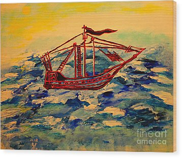 Wood Print featuring the painting Ship.abstract. by Viktor Lazarev