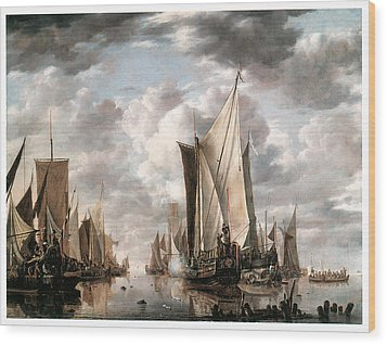Shipping In A Calm At Flushing Wiht A States General Yacht Firing A Salute Wood Print by Jan van de Cappelle