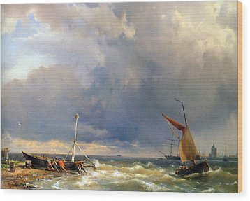 Shipping In A Stiff Breeze Wood Print by Hermanus Koekkoek