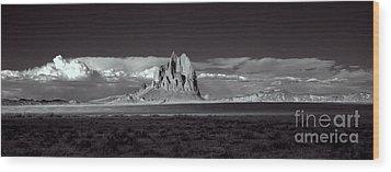 Shiprock Evening Panorama Wood Print by Erik Poppke
