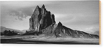 Shiprock Panorama Wood Print by Erik Poppke