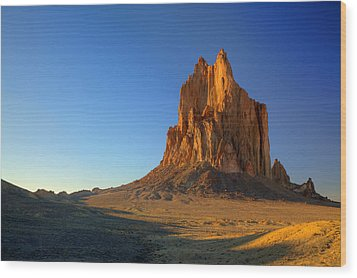 Shiprock Sunset Wood Print by Alan Vance Ley