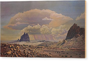 Wood Print featuring the painting Shiprock Vista by Art West