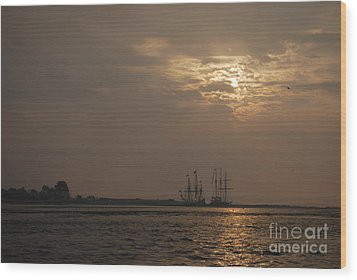 Ships At Dawn Wood Print