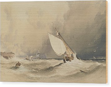 Ships At Sea Off Folkestone Harbour Storm Approaching Wood Print by Anthony Vandyke Copley Fielding