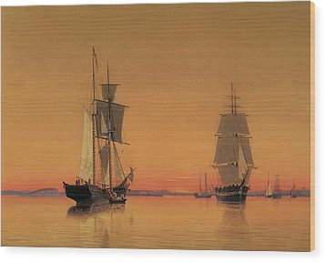 Ships In The Boston Harbor At Twilight Wood Print by William Bradford