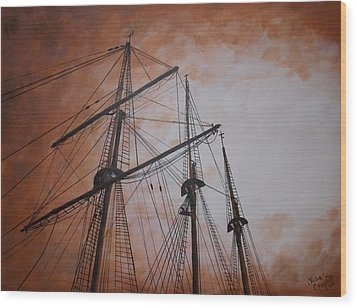Ships Masts Wood Print by Julie Cranfill