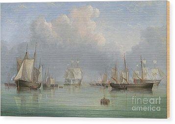 Ships Off Ryde Wood Print by Arthur Wellington Fowles