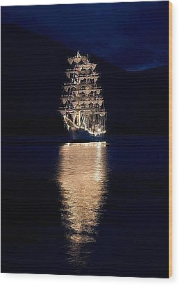 Ships That Pass In The Night Wood Print