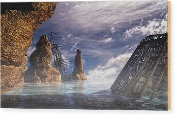 Shipwreck Wood Print by Bob Orsillo