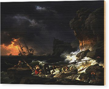 Wood Print featuring the digital art Shipwreck In A Thunderstorm by Joseph Vernet