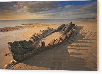 Shipwreck On Cape Cod Beach Wood Print by Dapixara Art