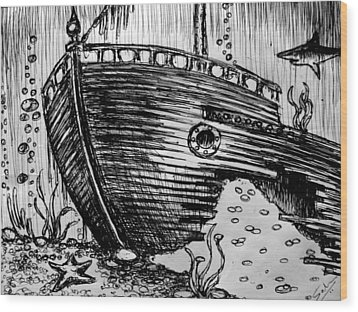 Wood Print featuring the painting Shipwreck by Salman Ravish