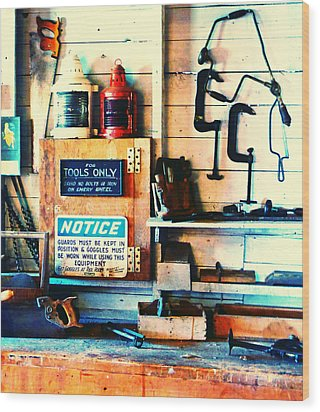 Shipyard Carpentry Wood Print by Laurie Tsemak