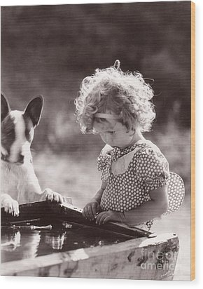 Shirley Temple And Dog - Sepia Wood Print by MMG Archives