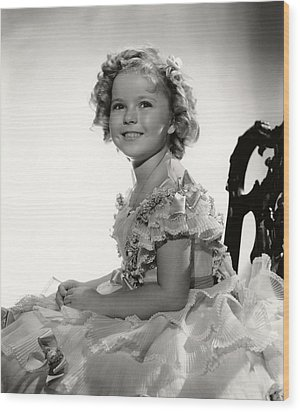 Shirley Temple Portrait Wood Print by Georgia Fowler