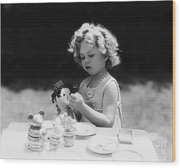 Shirley Temple Tea Party With Doll Wood Print by MMG Archives