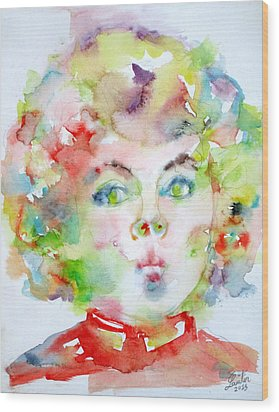 Shirley Temple - Watercolor Portrait.2 Wood Print