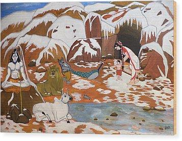 Shiva And His Family Wood Print by Pratyasha Nithin