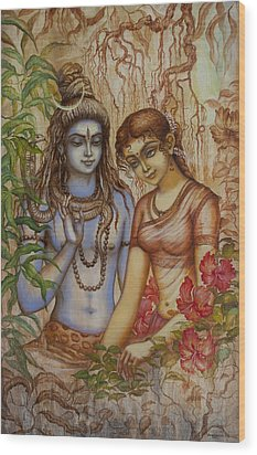 Shiva And Parvati Wood Print by Vrindavan Das