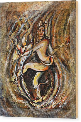 Wood Print featuring the painting Shiva Eternal Dance by Harsh Malik
