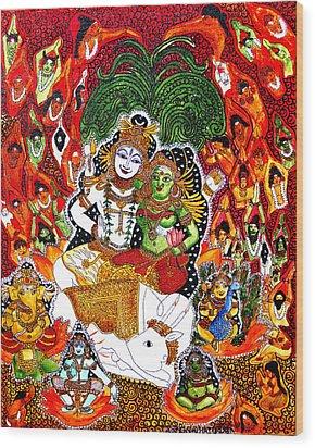 Wood Print featuring the painting Shiva Kudumba by Saranya Haridasan