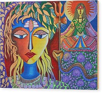 Shiva-sati Wood Print by Deepti Mittal