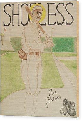 Wood Print featuring the painting Shoeless Joe Jackson by Rand Swift