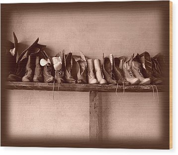 Shoes Wood Print by Fran Riley