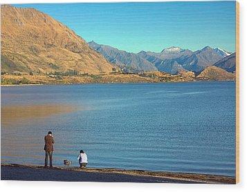 Wood Print featuring the photograph Shooting Ducks On Lake Wanaka by Stuart Litoff