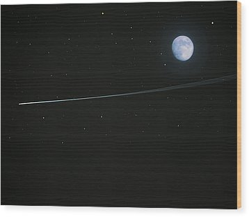 Shooting Star Wood Print by Pete Trenholm