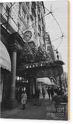 shoppers walk past entrance to Macys department store on Broadway and 34th street at Herald square Wood Print by Joe Fox