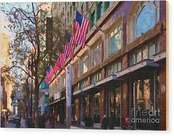 Shopping Along Market Street In San Francisco - 5d20712 Wood Print by Wingsdomain Art and Photography